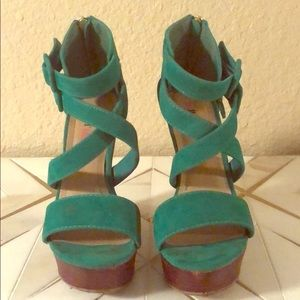 Green JustFab Strapped Wedge